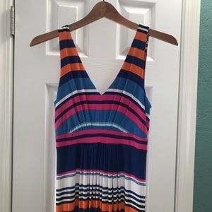BANANA REPUBLIC Maxi Dress, Striped, Orange Blue
